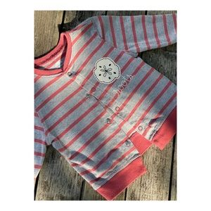 Roots Baby Light Cardigan Sweater Snaps Stripes